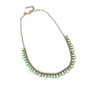 """J. Crew Light Green Clear Stone Necklace 18"""" - 21"""""""